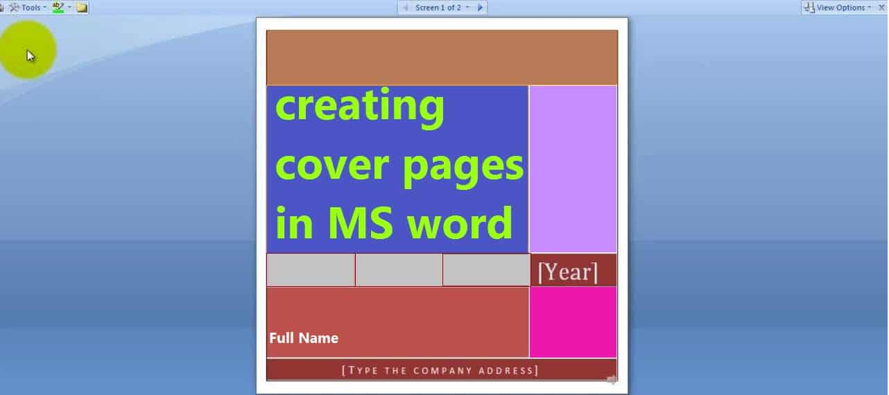 Cover page creation in Microsoft Word