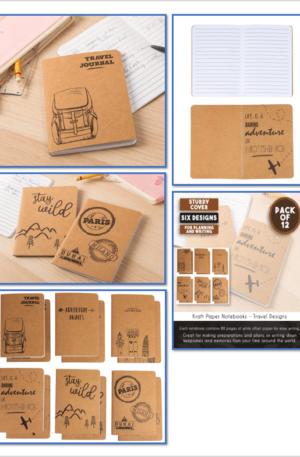 Kraft Notebook – 12 – Pack Lined Notebook Journals